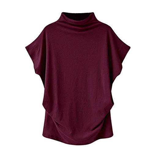 High Neck Vest Women's Loose Short Sleeve Bottoming Shirt Solid Color Casual Plus Size Tee Tops by JUSTnowok Red