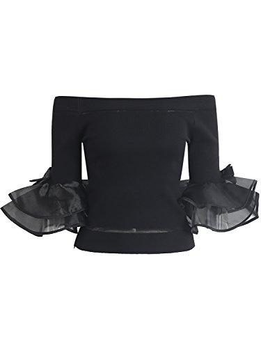 Simplee Apparel Women 's Stripe Knit Ruffle Off Shoulder Top Shirt jersey de manga larga Negro