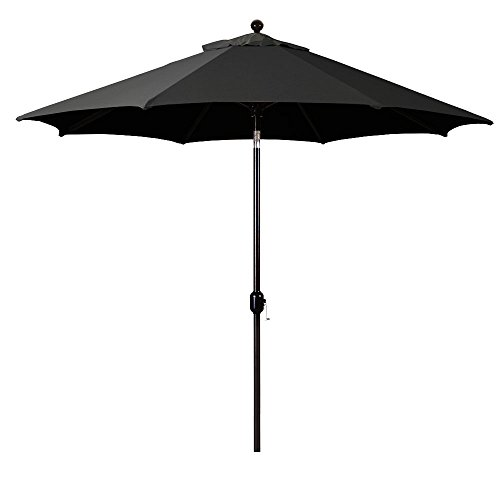 9-Foot Galtech (Model 737) Deluxe Auto-Tilt Umbrella with Black Frame and Sunbrella Fabric Black (Includes Extended Frame Warrantee)