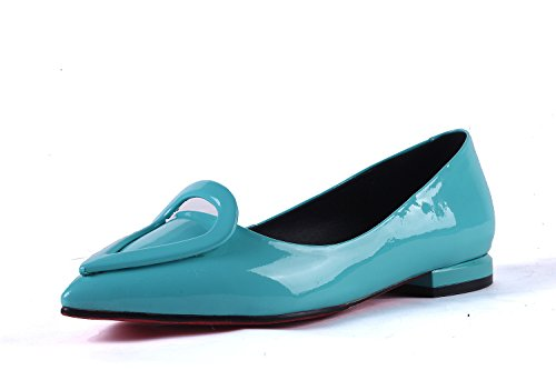ZHZNVX New Pointed Flat-Front Metallic Buckle Casual Casual Shoes, Blue, 42