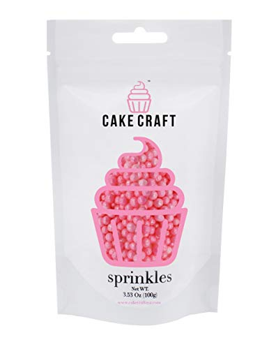 Cake Craft - Sprinkles - Metallic Pink Sugar Pearls - 100g Bag - For Cake Decorating ()