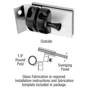 CRL Brushed Stainless 1.9'' Round Post Mount Gate Latch