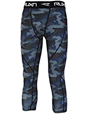 RUXN Mens 3/4 Compression Pants - Workout Running Tights for Men - Active Sport Quick Dry Athletic Leggings Base Layer
