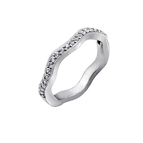 - Diamonbliss Rhodium Sterling Silver or 14K Gold Clad Cubic Zirconia Wave Design Band Ring Rhodium,Size 7