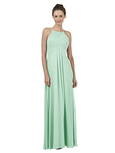 Alicepub Long Chiffon Bridesmaid Dress Maxi Evening Gown A Line Plus Party Dress, Mint Green, US14