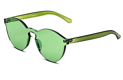 GAMT Rimless Tinted Transparent Sunglasses Colorful One Piece Designer Glasses (Green, - Green Sunglasses Designer