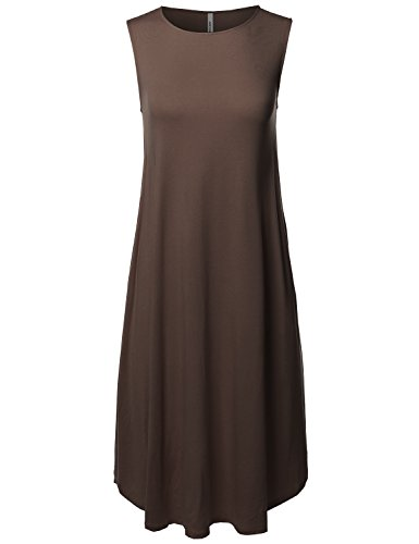 - Made by Emma Casual Solid Viscose Sleeveless Round Neck Loose Fit Midi Dress Brown M