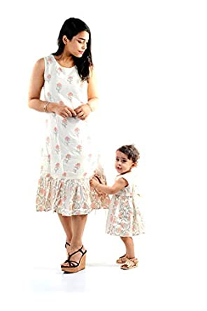 Bhavtu Mother Daughter Matching Dress Combo Dress Same Dress for All Occasion