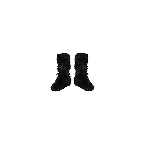 D/Ceptions 2 Black Furry Boot Covers Costume Accessory, One Size Child ()