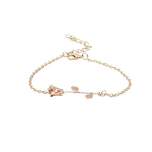 Mosichi Elegant Bracelet Women Girls Rose Flower Bangle Cuff Bracelet Jewelry Best Gifts for Mother Day (Rose Gold)