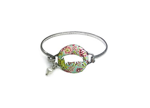 Pig Floral (Wonderent Cute Pig Shape Cutout Floral Vintage Wire Bangle Bracelet with Pearl Bead (Burnish Silver))