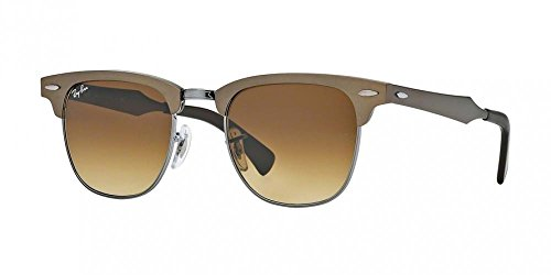 Brown Frame Lenses Light (Ray-Ban CLUBMASTER ALUMINUM - BRUSHED BRONZE/GUNMETAL Frame LIGHT BROWN Lenses 49mm Non-Polarized)