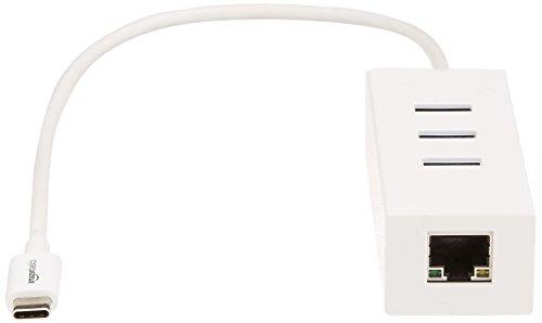 AmazonBasics - Concentrador de USB 3.1 tipo C a 3 puertos USB, con adaptador Ethernet: Amazon.es: Electrónica