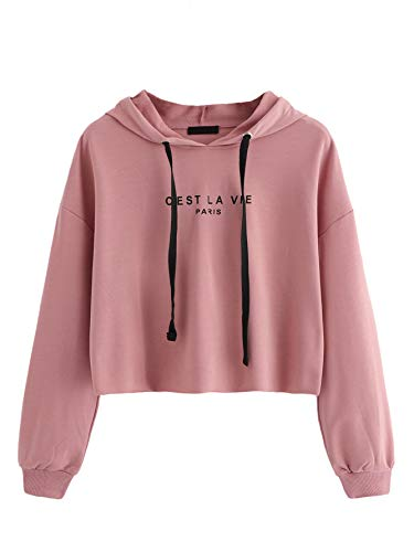 Romwe Women's Women's Letter Print Sweatshirt Raw Hem Drawstring Crop Top Hoodie Pink# XS