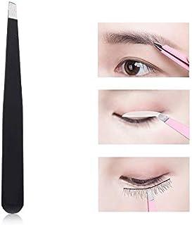 happy- little -bear Eyebrow Tweezers Eyebrow Cilp Removal Stainless Steel Tweezers Long Eyebrow Eyelash Precision Slanted Tweezers (Color : Black)