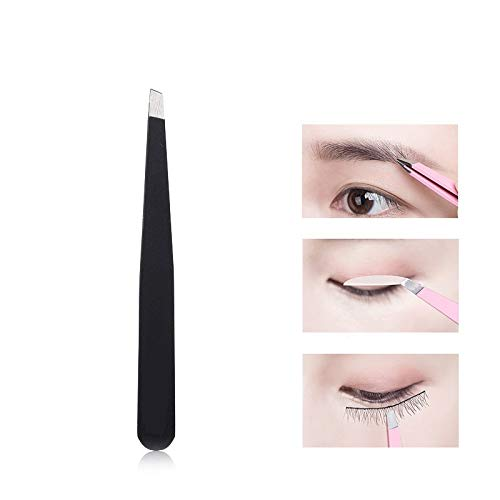 happy- little -bear Eyebrow Tweezers Eyebrow Cilp Removal Stainless Steel Tweezers Long Eyebrow Eyelash Precision Slanted Tweezers (Color : Black)