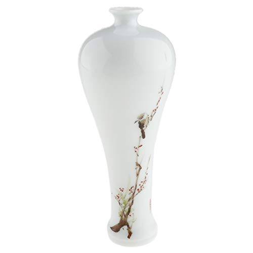 Flameer Ceramic Flower Vase Decorative Porcelain Bottle Hand-Painted Pattern Ornamental Art Craft Home Ornaments Office Decoration - Plum