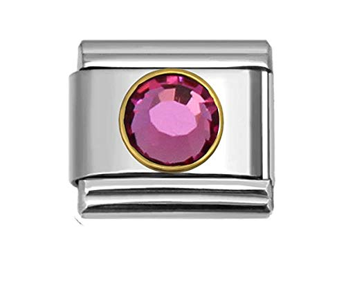 SEXY SPARKLES Birthstone Italian Charm Bracelet Link (Choose Your Birthstone from Menu) (October)