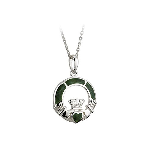 (Claddagh Necklace Sterling Silver & Connemara Marble 18