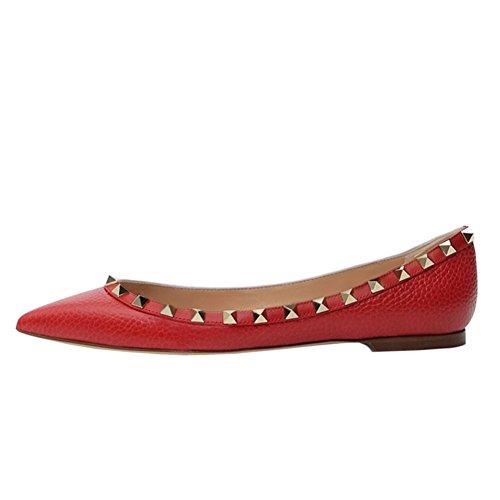 Vocosi Puntige Teen Flats Voor Dames, Mode Studs Studs Comfort Ballet Flats Schoenen Rood (patroon)