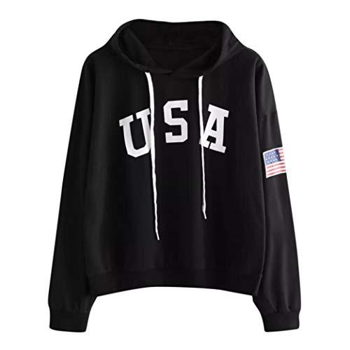 DEATU Womens Hoodies,Ladies Teen Girls Letter Flag Printed Sweatshirt Long Sleeve Pullover Tops Blouse Hoodies(Black,XL)