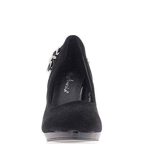 Final de consejos zapatos mujer negro 9.5 cm talón cojín redondo antes de material bi