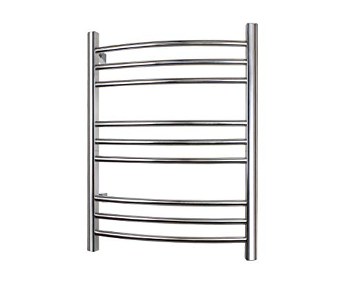 (WarmlyYours Riviera Towel Warmer, 9 bar, Brushed Stainless Steel)