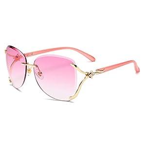 VOLCHIEN Women Shades Rimless Sunglasses Bling Frame Round Lens Sunglass Metal Frame Sunglasses for Women Men VC1012