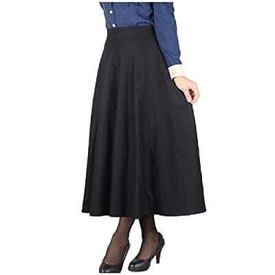 Fieer Womens Retro Big Pendulum Fall Winter Plaid Wool Blend Full Length Skirts