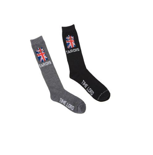 Doctor Who Mens Crew Socks Union Jack Tardis Shoe Size 9-13 Drw-213 (black) 213 Apparel