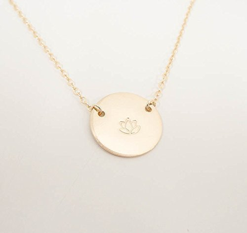 Lotus Flower Charm Necklace - Lotus Stamped Necklace - Hand Stamped Jewelry - Choose your design]()