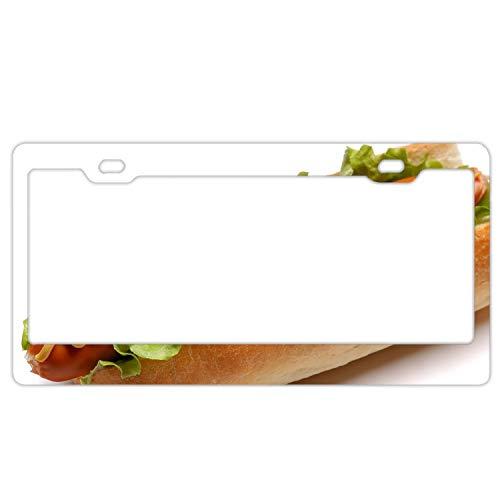fffvv Sandwich Sausage Mustard Cabbage White Chrome License Plate Frame Funny Novelty License Plate Cover Holder