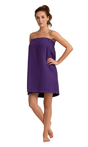 Premium Turkish Cotton Women's Lightweight Knee Length Spa/Bath Waffle Body Wrap with Adjustable Hook-and-Loop Tape (Purple)]()