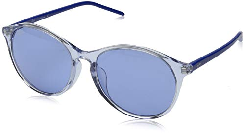 Ray-Ban RB4371F Round Asian Fit Sunglasses, Transparent Light Blue/Blue, 55 mm (Best Sunglasses For Asians)