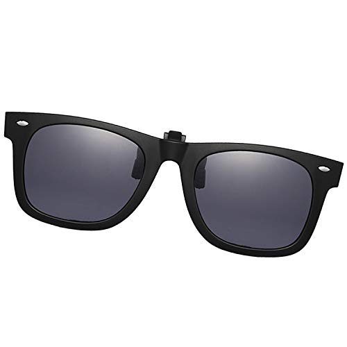 Clip-on Sunglasses Polarized Unisex Anti-Glare Driving Glasses With Flip Up for Prescription Glasses (Rectangle Black)