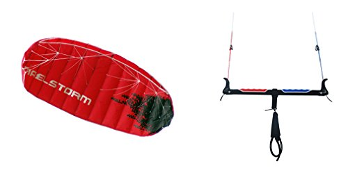 Kite Land Board - Maelstorm EVOLUTION 3m Kitesurfing Trainer Power Foil Kite with Kite Bar 9-18m Adjustable Flying Lines Chicken Loop Safety Release Carrying Bag