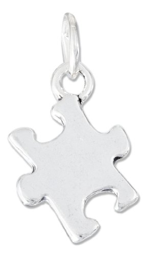 Sterling Silver High Polish Jigsaw Puzzle Piece Autism Charm