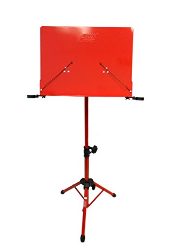 Audio2000'S AST4384RD Premium Heavy-Duty Sheet Music Stand with Adjustable Height, Red ()
