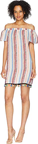 American Rose Women's Shayla Off The Shoulder Dress with Tassel Trim Multi Large
