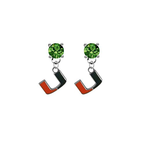 Miami Hurricanes Green Crystal Stud Post Dangle Earrings