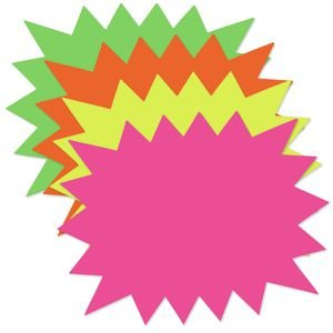 Giant Fluorescent Starburst Signs 27 x 21 Pack of - Fluorescent Signs