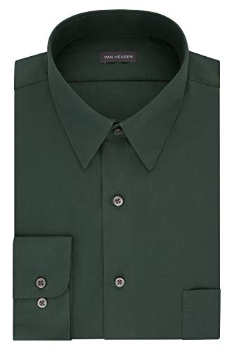 Van Heusen Men's Dress Shirt Fitted Poplin Solid, Dark Leaf, 17