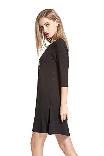 Buy black 3 4 sleeve shirt dress - 8