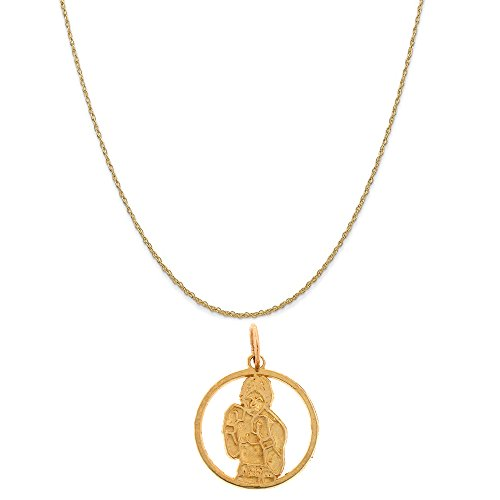 14k Yellow Gold Boxer Pendant on a 14K Yellow Gold Rope Chain Necklace, 18