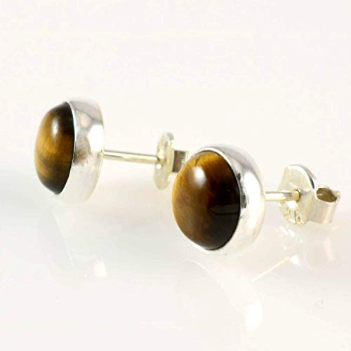 - Sterling Silver Natural Round Brown Tiger Eye Gemstone Handmade Stud Earrings