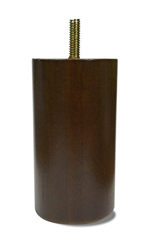 """Elegent Upholstery 4"""" Walnut Cylinder/Cylindrical Style Sofa/Couch/Chair Wood Legs [5/16"""" Bolt] - Set of 4"""