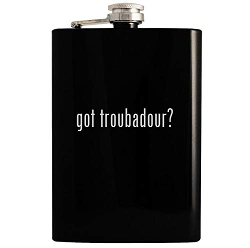 got troubadour? - Black 8oz Hip Drinking Alcohol Flask