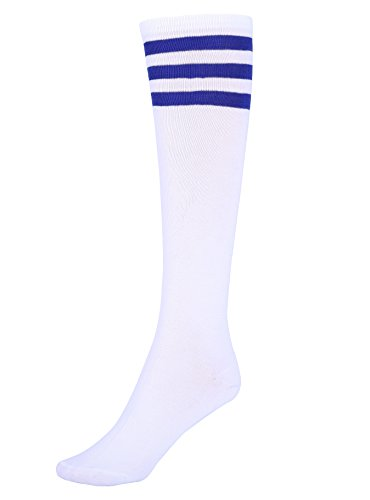 Mystylees Women's White Knee High Striped Socks with Three Blue Stripes -