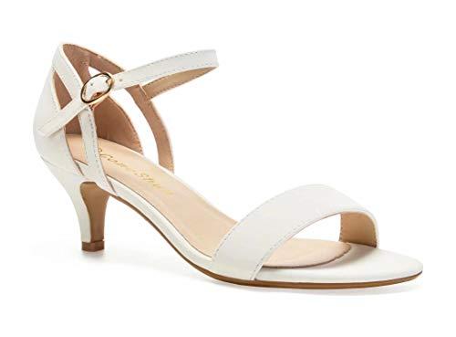 - ComeShun Womens Shoes Ankle Strap Open Toe Stilettos Dress Party Bridal Wedding Pumps Low Kitten Heels Sandals (5.5 US, White)