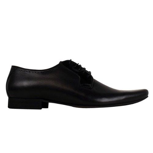 Herren H by Hudson Leder Smart Larkin Derby Schuhe Formelle Designer Schwarze Schuhe